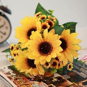 Beauty-1-Bouquet-Fake-Sunflower-Artificial-Silk-Flower-Bouquet-Home-Floral-Decor