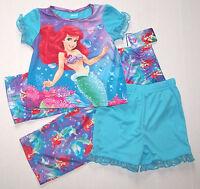 Disney Ariel Little Mermaid 3pc Pajamas Sleepwear Bubbles Blue Cute Girl