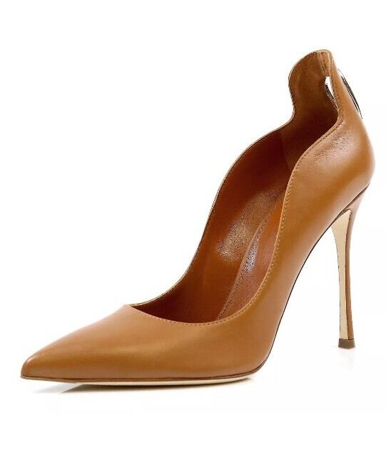 Sergio Rossi Blink Chestnut Nappa Cutout Leather Pumps SZ. 39 NEW!