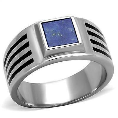 Blue Stainless Steel Signet Lapis Signet Ring Black Accent Stripes