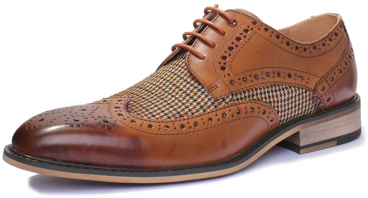 Justin Leather Reece Gerard Mens Smart Check Tweed Chisel Toe Leather Justin Hand Made Lace up b984e5