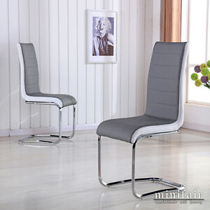 2x faux leather grey white dining chair metal seat kitchen for White leather high back dining chairs