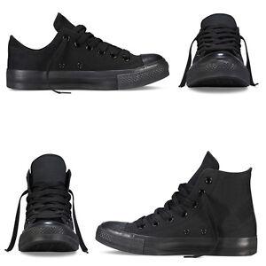 Scarpe-Da-Ginnastica-Total-Black-Uomo-Donna-Sneakers-Alte-Basse-Casual-Nere
