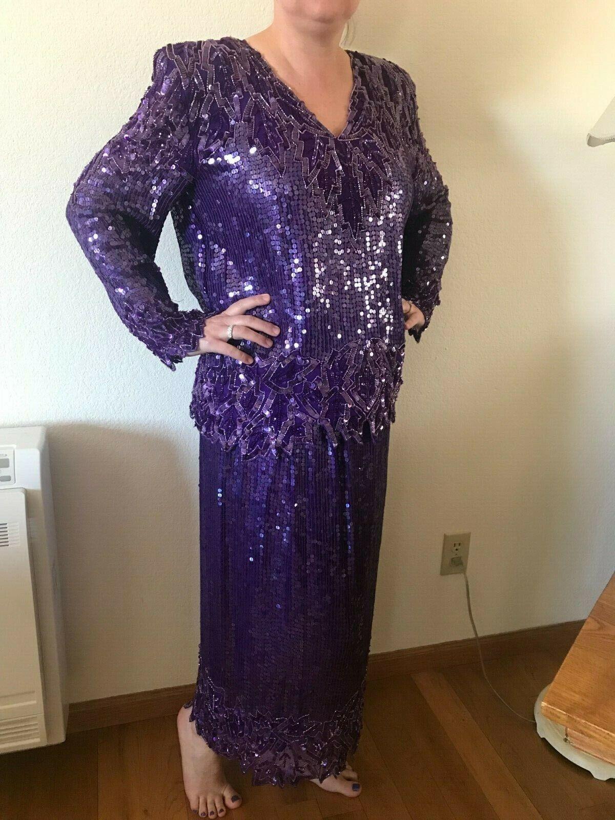 Scala Sequin Top & Matching Skirt - size XL, purple