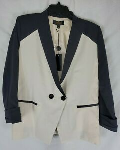 Greylin-Anthropologie-Women-039-s-Ivory-Black-Large-2-Button-Blazer-New-with-Tags