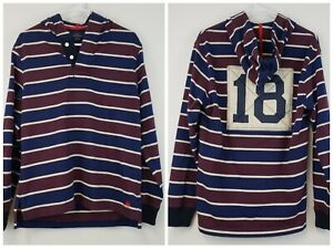 Brooks Brothers '346' Mens Long Sleeve Striped Hooded Rugby Shirt 18 Small