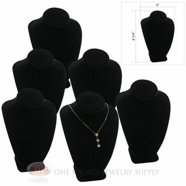 "(6) 6 1/4"" Pendant Necklace Black Velvet Neck Form Jewelry Presentation Displays"