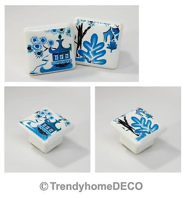 Cute Blue Willow Square Ceramic Knob Closet Dresser Kitchen Cabinet Knobs Pulls