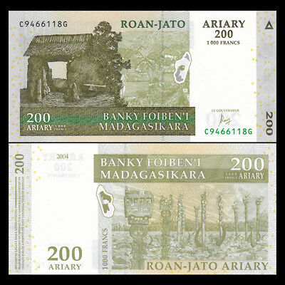200 Ariary P New 2017 UNC Low Shipping Combine FREE! Madagascar 100 2 Notes