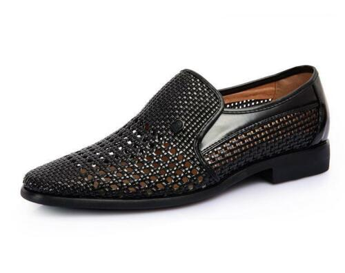 New Mens Slip On Woven Hollow Out Breathable Loafer Summer Sandals