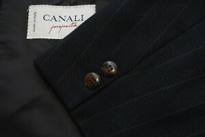 Canali Gray Brown Striped Textured 100% Wool 2 Pc Suit Jacket Pants Sz 40R