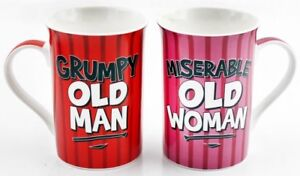 Fine-China-Coffee-Fun-Novelty-Mugs-Grumpy-Man-Miserable-Woman-Set-Of-2