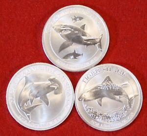 Two 1//2 Oz Shark Silver Shark Coins 2015 Hammerhead Shark 2014 Great White