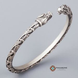 baac0162d6d75 Details about VIKING BRACELET SILVER NORSE ARM RING DRAGON'S HEAD NORDIC  TORC VIKING JEWELRY