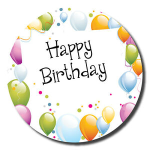 happy birthday stickers 60mm space to write name balloons