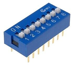 DIP Switch Poles number 8 ON OFF 16 pins Mountable THT 0.05A 12VDC DS-08