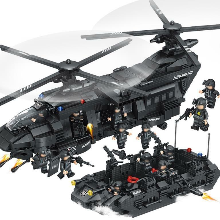 Military SWAT Team Helicopter Tank Transport Lego Model Building Army 1351pcs