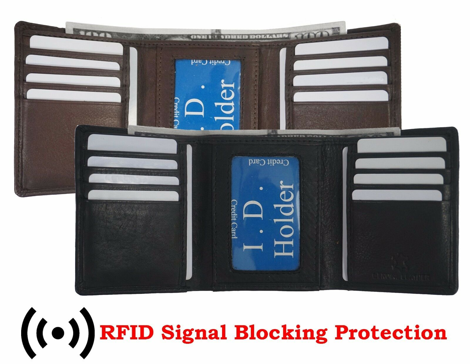 Mens Trifold Genuine Leather RFID Blocking Wallet Brown New