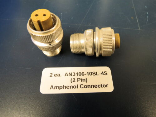 2 New AN3106-10SL-4S Amphenol Cannon Plug Female 2 Pin Connector