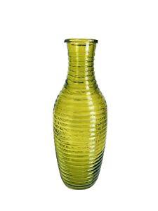 "Vintage Modern Design Pretty Green Clear Glass Ribbed Vase 8-1/2""H"
