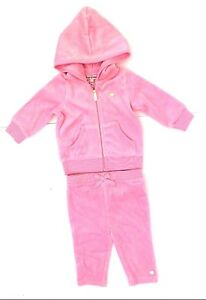Infant Girls Juicy Couture Pink Velour 2pc Outfit Hooded Sweatsuit