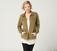 thumbnail 1 - Denim & Co. Comfy Knit Denim Zip-Front Jean Jacket,Deep Olive,Large-A349249-NEW