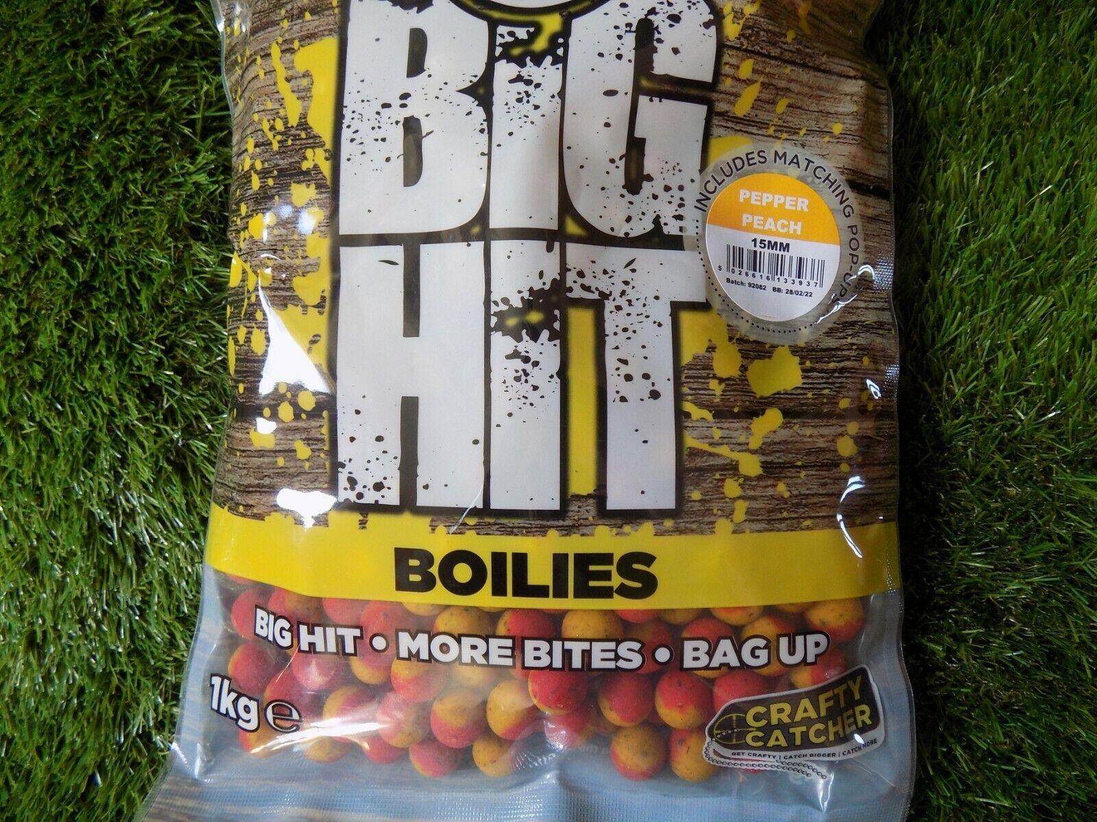 Crafty Catcher boilies 15mm shelf life1kg bags big hit pepper peach pop up, mung