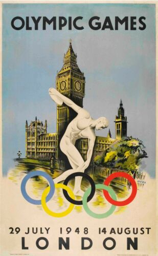 London 1948 Olympic Games poster Glossy Photo print A4 or A5 size