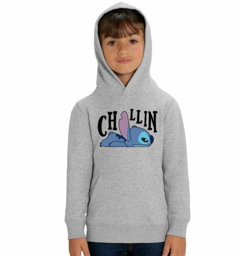 Lilo /& Stitch Chillin Children/'s Unisex Grey Hoodie