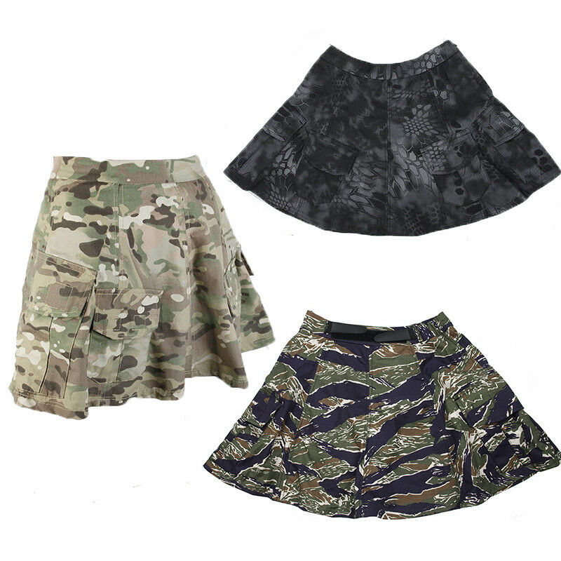 2018 NEW Women Tactical Camouflage Adjustable Pleated Skirt Shorts Tactics Dress