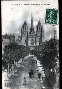 DIJON-21-Rue-MARIOTTE-animee-amp-CATHEDRALE-ST-BENIGNE-en-1908