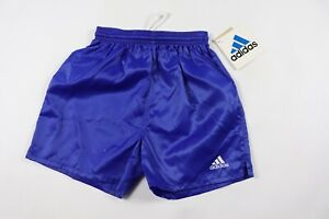 Vtg-90s-New-Adidas-Youth-Medium-Genoa-Spell-Out-Nylon-Soccer-Shorts-Royal-Blue