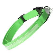 "Adjustable LED COLOR Light Up Pet Dog Cat Neck Collar Night Safety 18"" GREEN"