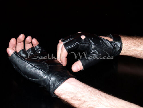 NEW fingerless chopper leather gloves black S M L XL