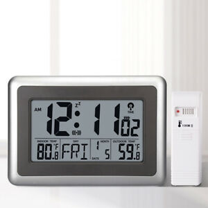 Large-LCD-Screen-Desk-Wall-Clock-In-amp-Outdoor-Temperature-Snooze-Alarm-Clock-USA