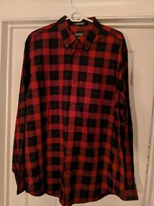 St-Johns-Bay-Premium-Twill-Mens-Long-Sleeve-Plaid-Red-Size-Large-Tall