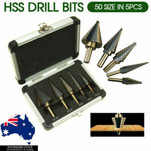 Steel Cone Drill Titanium Bits 5PC HSS Step Set Kit Hole Cutter Aluminum Case AU