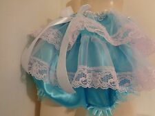 ADULT SISSY FRILLY BLUE SATIN PANTIES BLOOMER ATTACHED SKIRT  DRESS UP MEN GIRL
