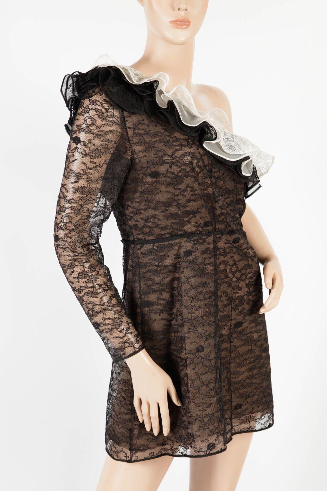 Nuevo con etiquetas VALENTINO –  3,990  Raro Floral encaje de un hombro Vestido de Volantes – Talla 10  precios ultra bajos