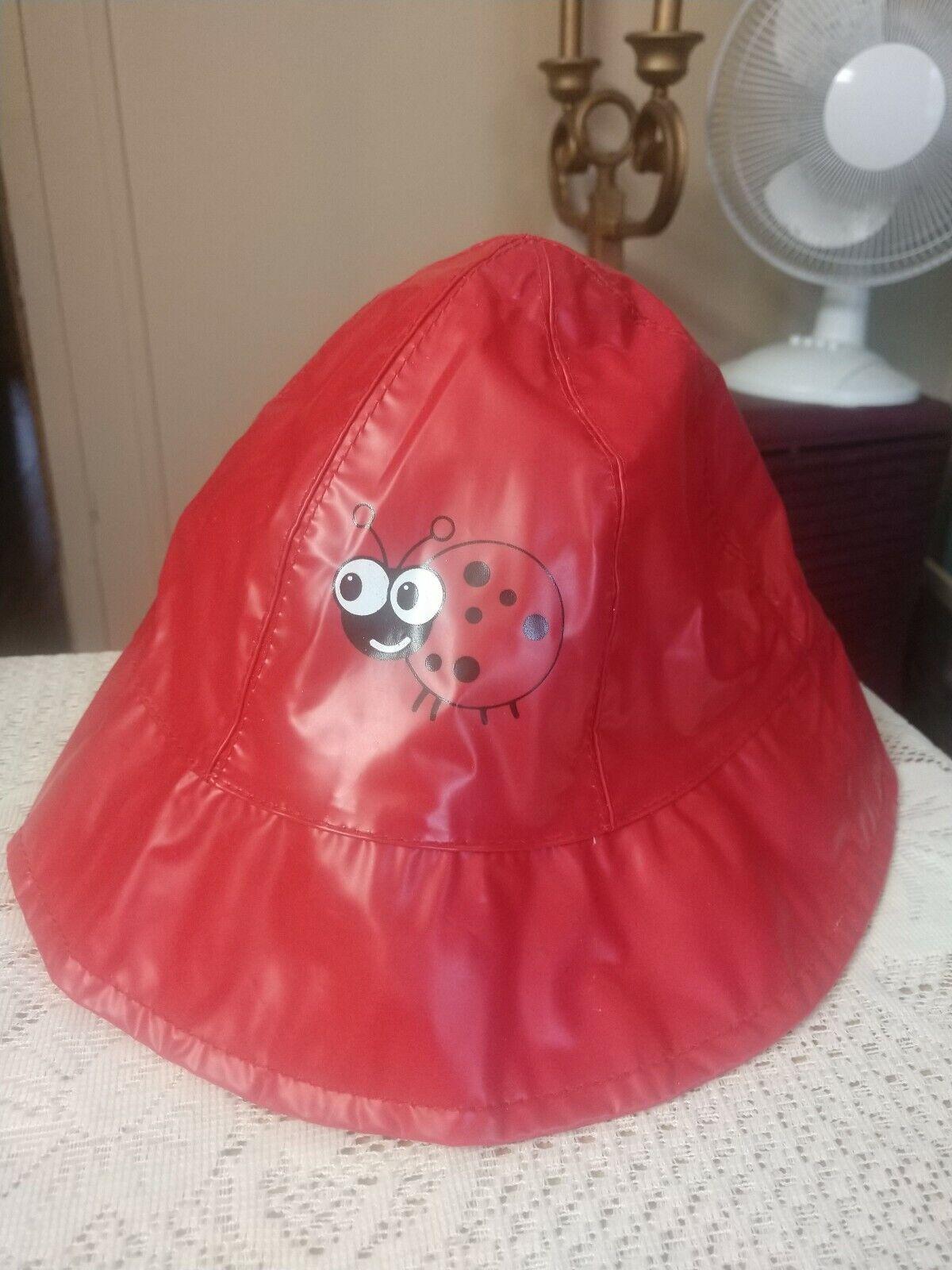 ! nuevo! Rojo Vinilo Niño Plegable Lluvia Sombrero! Lady Bug Diseño!