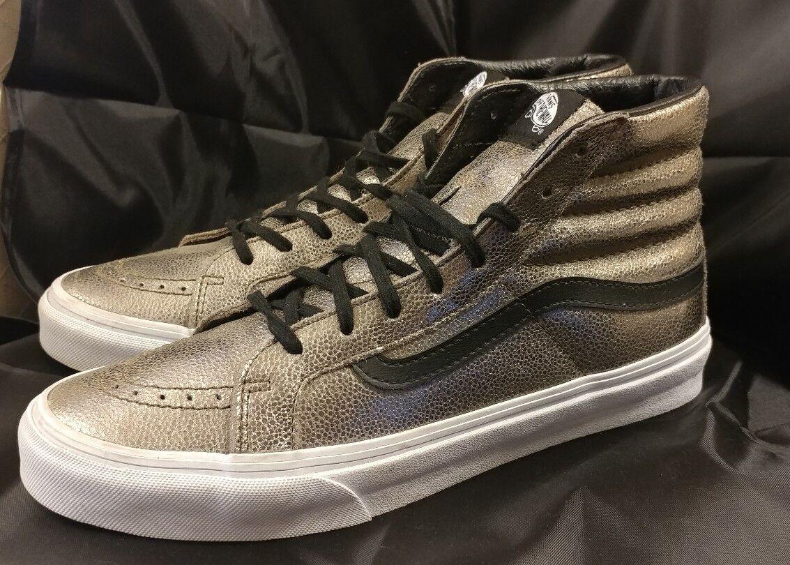Vans Sk8 Hi Slim Foil Metálico Plata Negro Zapatos para hombre 8.5 Mujeres Zapatos 10 Raro