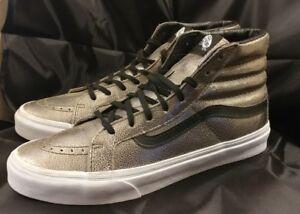 873c3d465d00e8 Vans Sk8 Hi Slim Foil Metallic Silver  Black Shoes Mens 8.5 Women 10 ...