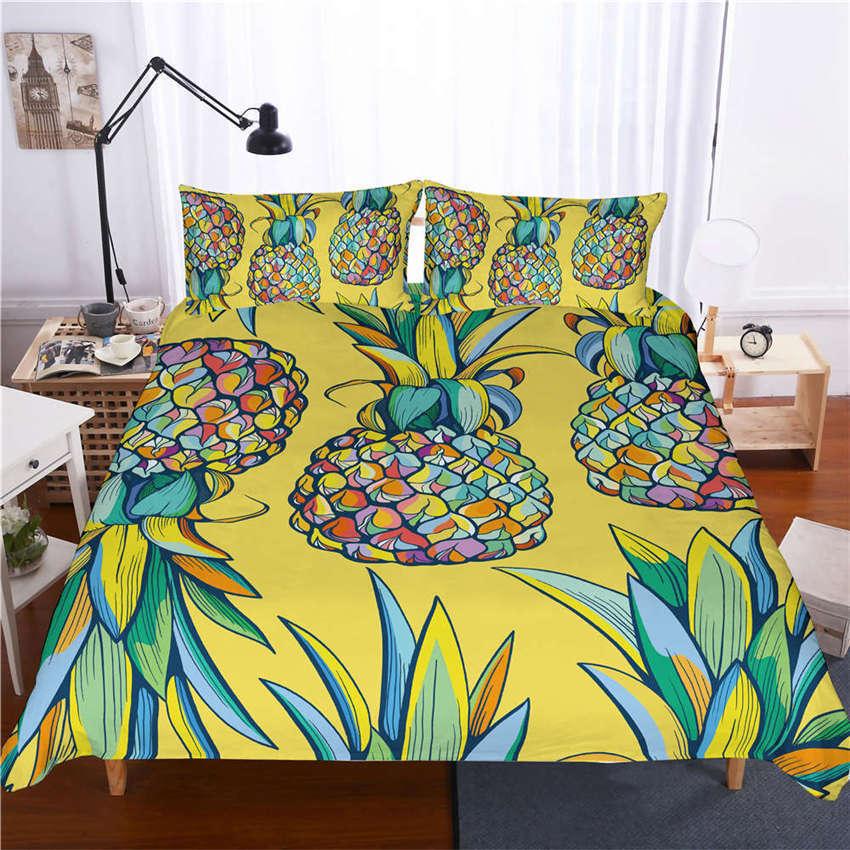 Vivid Image Nice Pineapple 3D Digital Print Bedding Duvet Quilt Cover Pillowcase