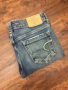 AMERICAN-EAGLE-Boot-Cut-Low-Rise-Med-Wash-Blue-Denim-Jeans-Women-039-s-Size-4-Short