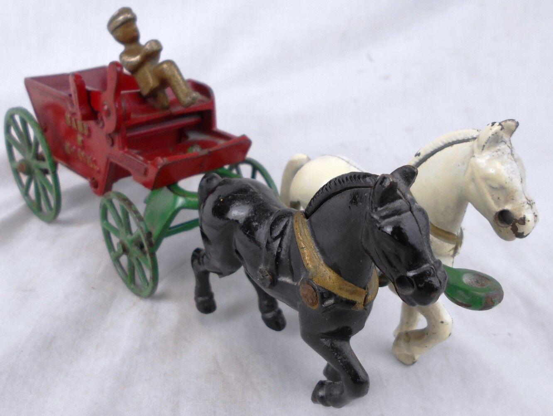 Antiguo Kenton Juguetes De Hierro Fundido caballos Arena & grava Dump Vagón