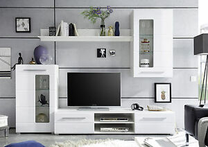 Das Bild Wird Geladen Anbauwand Enrique 1 Wohnwand Wohnkombination Weiss  Weiss Hochglanz