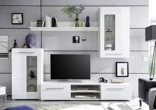 Anbauwand Enrique 1, Wohnwand, Wohnkombination, Weiß / Weiß Hochglanz,  Modern