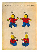1979 Lego Toy Mini Figures Patent Print Colorized Art Drawing Poster 18x24