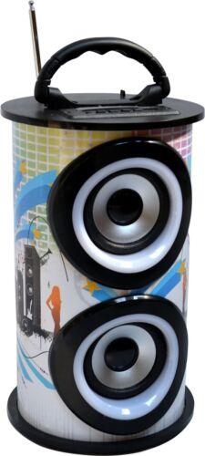 FM-AUX-USB-SD-MP3 BOX5 TRAGBARER BLUETOOTH LAUTSPRECHER RUNDE SOUNDBOX WEISS