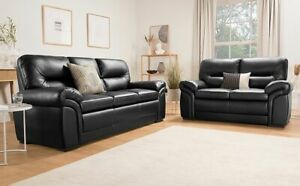 Details about BROMLEY Black Leather Sofa Sofas Couch Settee Suite Suites  Range